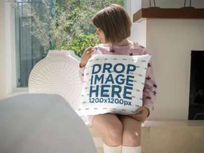 White Girl Holding a Pillow Template While Sitting Down a14944