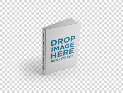 Hardcover Book Template Standing on a Transparent Surface a15489
