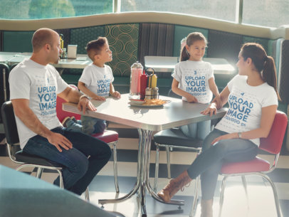 Mockup of a Family at a Restaurant Having Lunch and Wearing Different T-Shirts a15482