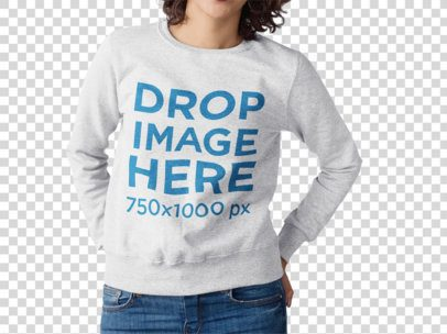 Girl With Curly Hair Wearing a Crewneck Sweatshirt Mockup Standing Against a Transparent Wall a15503