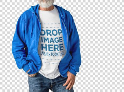 Elder Man Wearing a Round Neck T-Shirt Mockup and a Blue Jacket on Top of it While Standing Against a Transparent Wall a15506