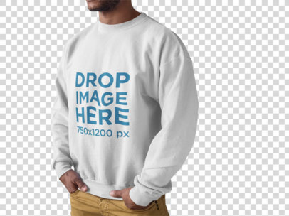 Black Man Wearing a Crewneck Sweatshirt Mockup Standing Face Cropped Against a Transparent Backdrop a15500