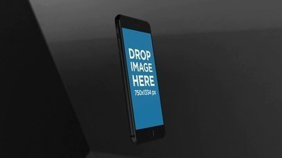 Black iPhone Video Mockup Floating and Rotating a15634