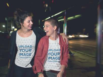 Pair of Girls Wearing Different T-Shirts Template While Laughing a15566