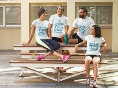 Group of Four Happy Friends Chatting After Workout Wearing Different T-Shirts Mockup a15633