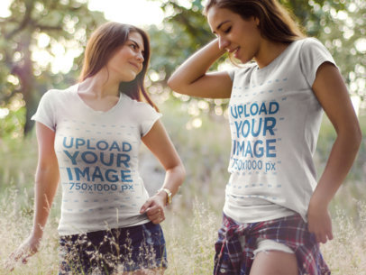 Two Girlfriends Wearing Different T-Shirts Template While Outdoors a15668