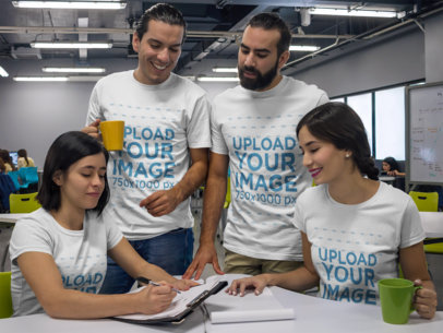 Group of Four Coworkers Talking While Wearing Different Tshirts Mockup a15650