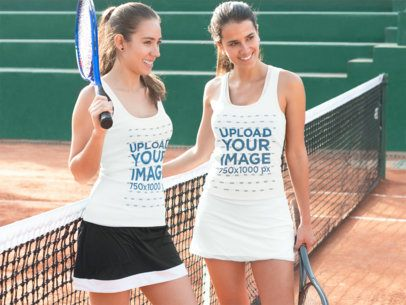 Two Girls Wearing Different Tank Tops Template While at a Tennis Court a15671