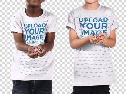 Transparent Mockup of Two Kids Wearing Different T-Shirts With Their Faces Cropped a15641
