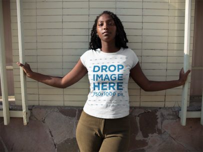 Black Woman Hanging Out in the City While Wearing a Tshirt Mockup a15542