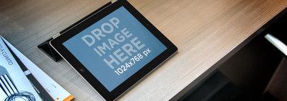 iPad Landscape Black On Wooden Desk Wide