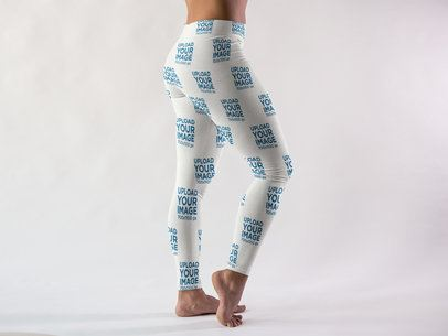 Girl Wearing Long Leggings Mockup a15396