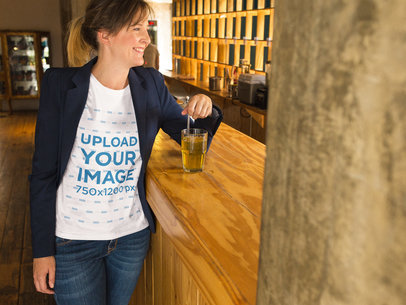 Smiling Middle Age Woman Wearing a Round Neck T-Shirt Mockup while at a Bar a15772