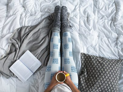 Leggings Template Being Worn by a Girl Having a Coffee on the Bed a15704