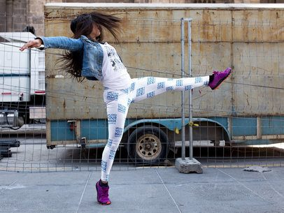 Girl Dancing on the Street While Wearing Leggings Mockup a15404