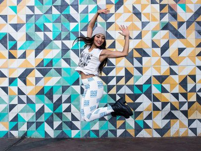 Pretty Girl Jumping and Wearing Leggings Mockup a15384