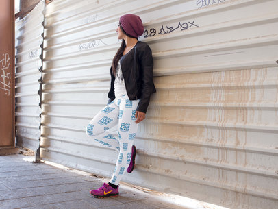 Young Girl Looking Away While Wearing Leggings Mockup in the City a15388
