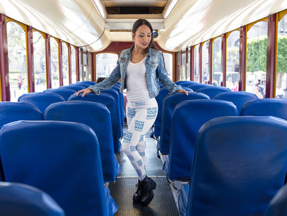 Beautiful Girl Wearing Leggings Mockup While on a Bus a15405
