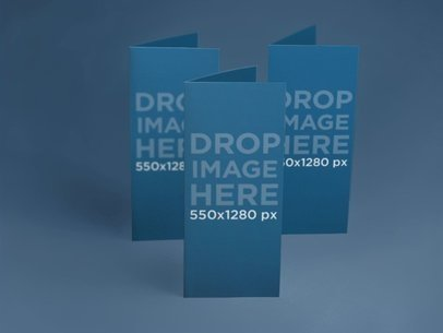 Mockup Featuring a Set of Brochures Standing Over a Flat Background 6352