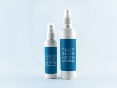 Label Mockup Featuring a Set of Two Spray Bottles a853