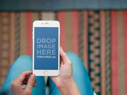 iPhone Mockup Featuring a Woman Using an iPhone 6 in her Living Room a5643