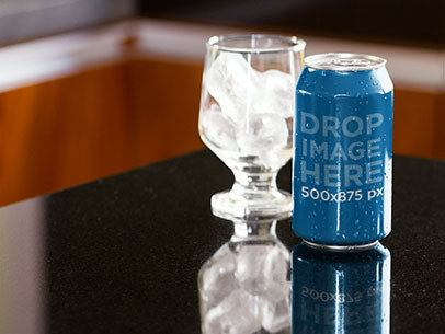 Label Mockup Featuring a Soda Can Next to a Glass With Ice a7164