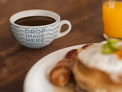 Cup Mockup Featuring a Coffee Cup at a Breakfast Table a7031