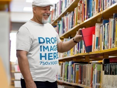 Elderly Professor at the School's Library T-Shirt Mockup  a8531