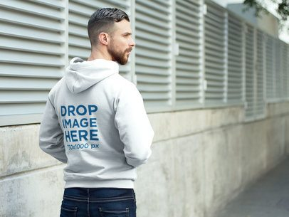 Hoodie Mockup Featuring a Man on his Way to the Park a8593