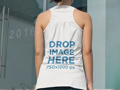 Back of a Girl Wearing a Tank Top Template Walking out of her House a9438b