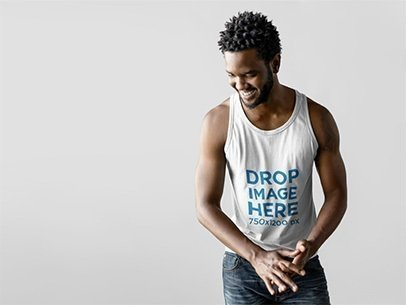 Tank Top Mockup of a Male Model in a Photo Studio a9830
