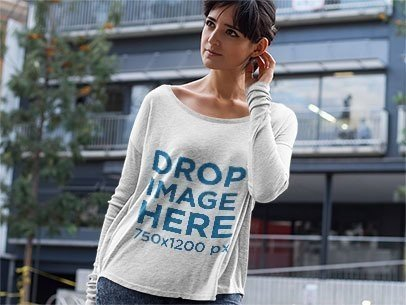 Long Sleeve T-Shirt Mockup of a Woman Outside her Flat  a9745