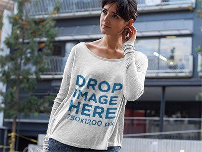 Long Sleeve T-Shirt Mockup of a Woman Outside her Flat  a9745