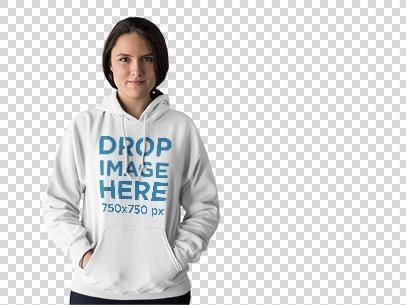 Hoodie Mockup of a Young Woman at a Photo Studio a9972