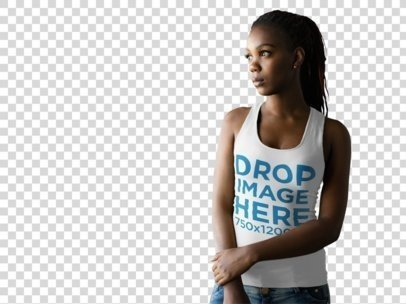 Tank Top Mockup of a Black Woman at a Photo Studio za9836