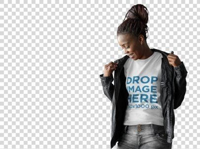 T-Shirt Mockup of a Woman Wearing a Leather Jacket a9841
