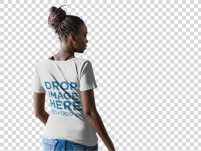 Back of a Woman with Dreadlocks Wearing a T-Shirt Mockup at a Studio b9839