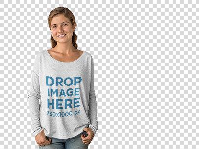 Bella Long Sleeve Mockup of a Smiling Young Girl at a Photo Studio a10113