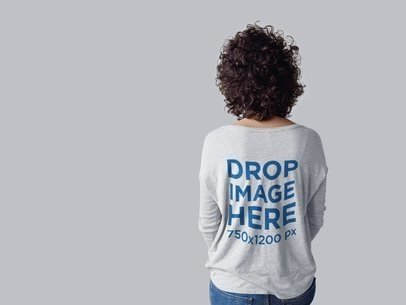 Mockup of the Back of a Curly Woman Wearing a Long Sleeve Tee b10262