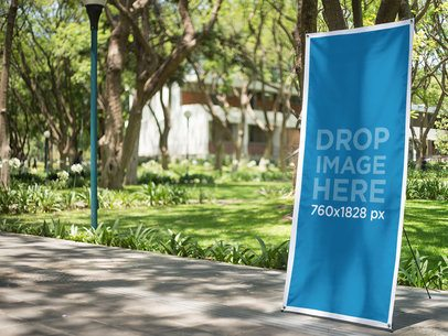 Vertical Banner Mockup at a University Courtyard a10339