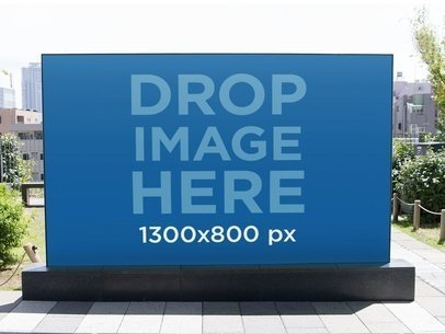 Big Horizontal Banner Mockup on a Sidewalk a10479