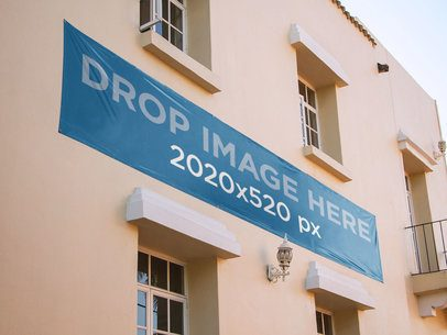 Banner Mockup of a Horizontal Banner on a Building a10499