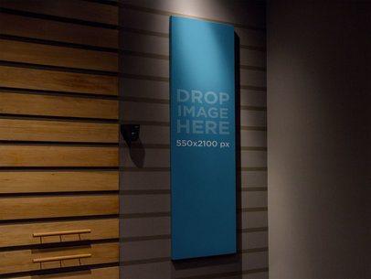 Vertical Banner Mockup in an Auditorium a10607