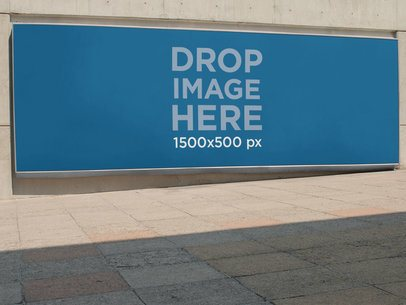 Horizontal Banner Mockup Outside a Convention Center a10535