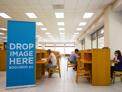 Vertical Banner Mockup at a School Library a10577