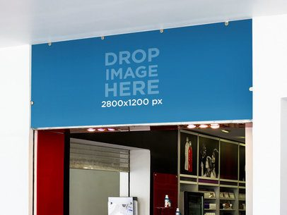 Horizontal Banner Mockup of a Banner Over a Fitness Store Entrance a10619
