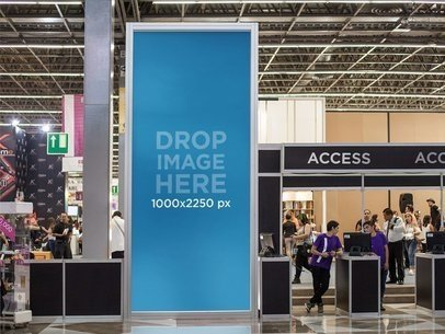 Vertical Banner Mockup at a Convention Center During an Expo a10739