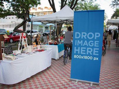 Vertical Banner Mockup in a Street Flea Market a10663