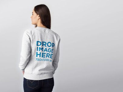 Back of a Woman Wearing a Crewneck Sweater Mockup Against a Transparent Backdrop a10074b
