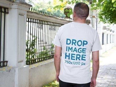 Back of an Elder Man Taking a Break Wearing a T-Shirt Mockup a10851b